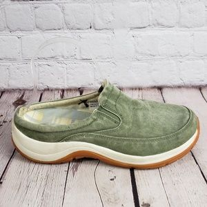 LL Bean Sunwashed Green Mules Womens 7.5 Shoes
